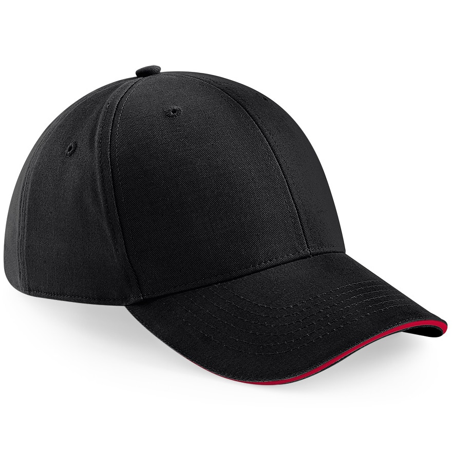 Six Panel Embroidered Cap - Black and Red