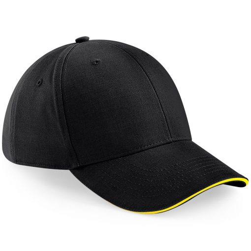 Six Panel Embroidered Cap - Black and Yellow