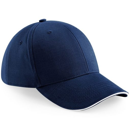 6 Panel Embroidered Cap - Navy Blue and White