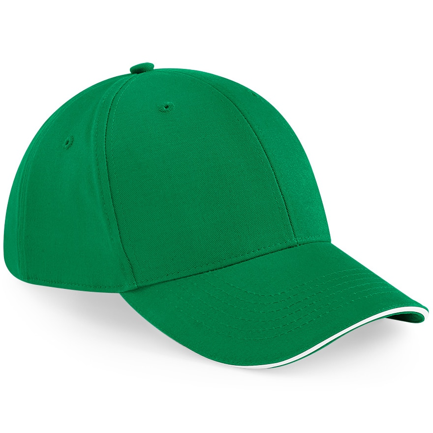 Six Panel Embroidered Cap - Green and White