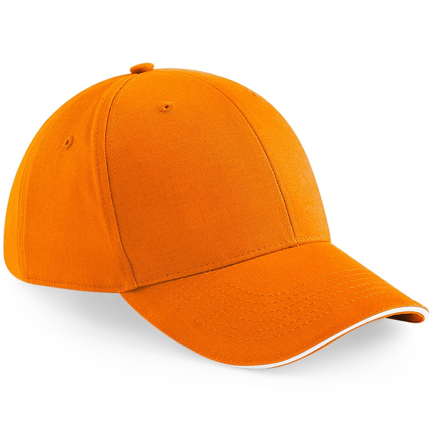 Six Panel Embroidered Cap - Orange and White
