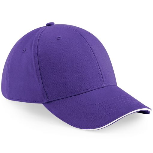 Six Panel Embroidered Cap - Purple and White