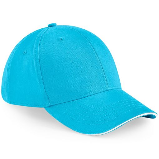 Six Panel Embroidered Cap - Bright Blue and White