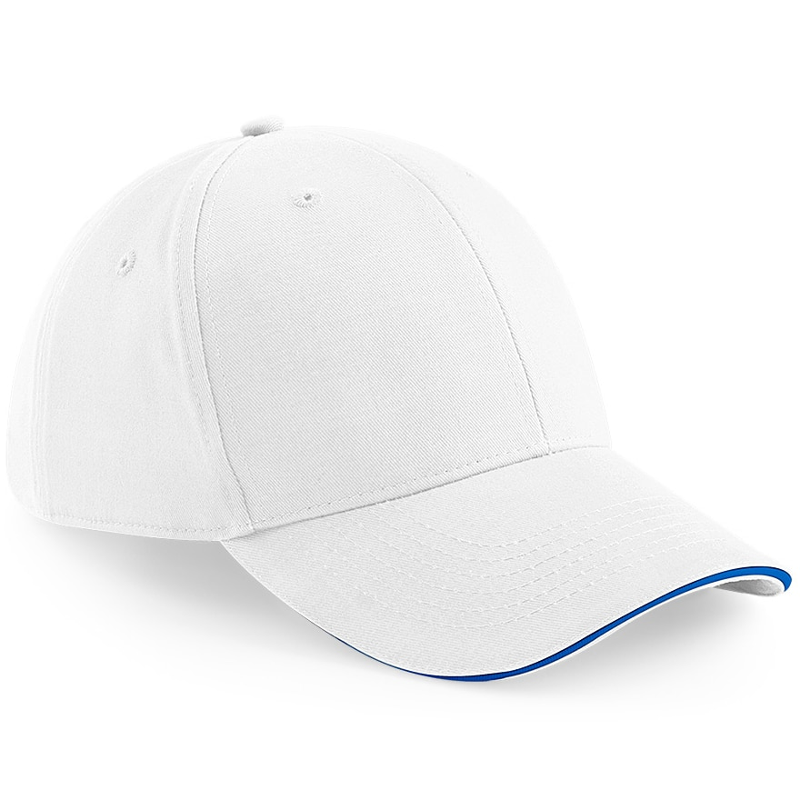 Six Panel Embroidered Cap - White and Royal Blue