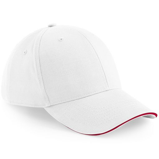Six Panel Embroidered Cap - White and Red