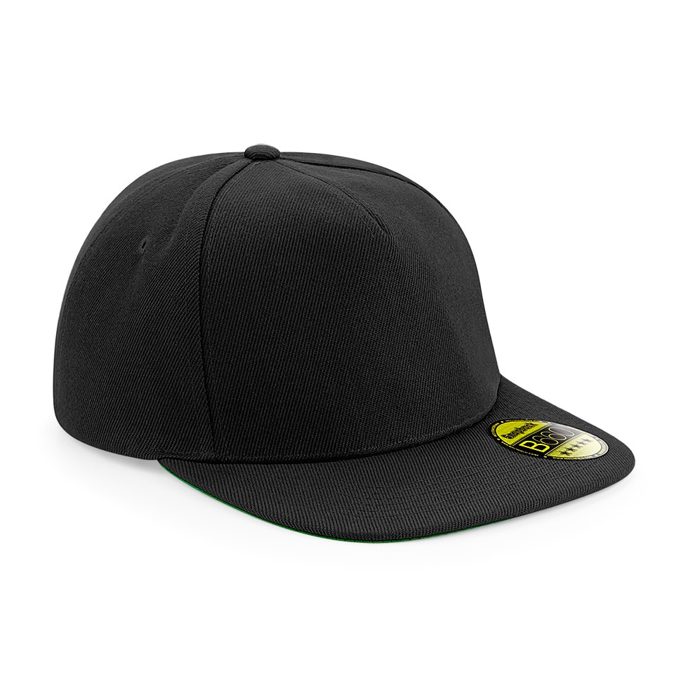 Flat Peak Snapback Cap - Black - Embroidered by Jageto Embroidery and Print in Braintree, Essex in the UK