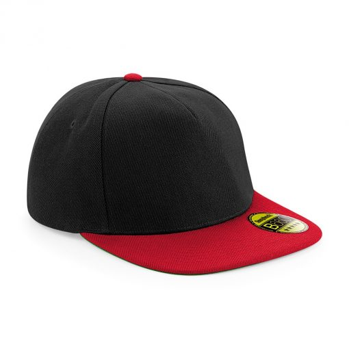Flat Peak Snapback Cap - Black and Red - Embroidered by Jageto Embroidery and Print in Braintree, Essex in the UK