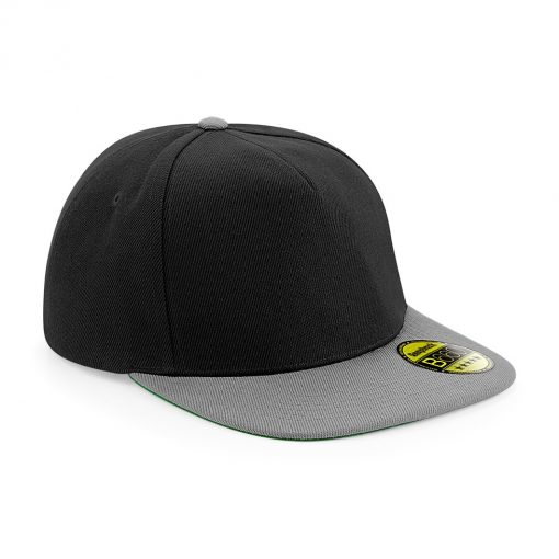 Flat Peak Snapback Cap - Black and Grey - Embroidered by Jageto Embroidery and Print in Braintree, Essex in the UK