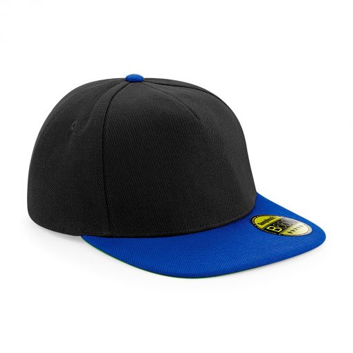Flat Peak Snapback Cap - Black and Royal Blue - Embroidered by Jageto Embroidery and Print in Braintree, Essex in the UK