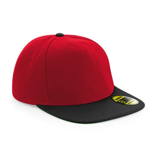 Flat Peak Snapback Cap - Red and Black - Embroidered by Jageto Embroidery and Print in Braintree, Essex in the UK