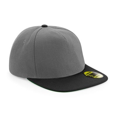 Flat Peak Snapback Cap - Grey and Black - Embroidered by Jageto Embroidery and Print in Braintree, Essex in the UK