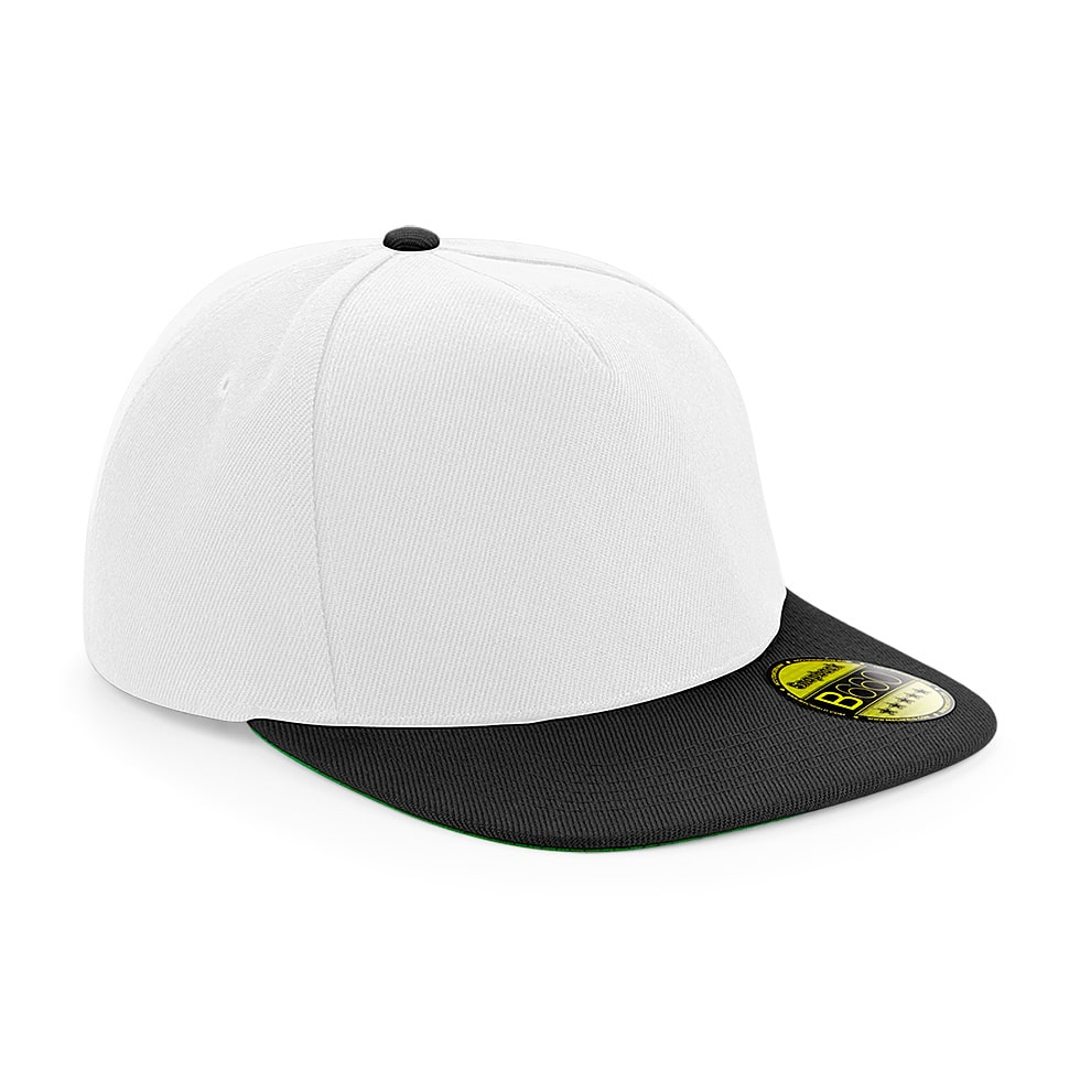 Flat Peak Snapback Cap - White and Black - Embroidered by Jageto Embroidery and Print in Braintree, Essex in the UK