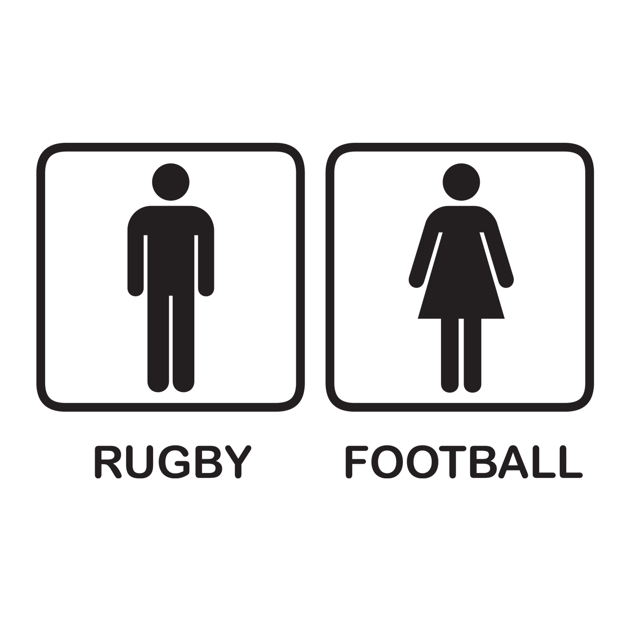 Fun and Funky Printed T-Shirts from Jageto Embroidery and Print in Braintree, Essex in the UK - Rugby Football Toilet Sign Printed T-Shirt