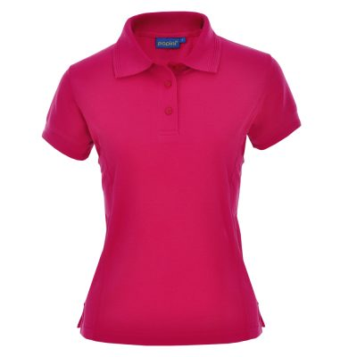 Ladies Fit Embroidered Polo Shirts - Fuchsia Pink