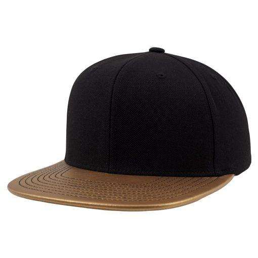 Metallic Visor Snapback Cap - Gold