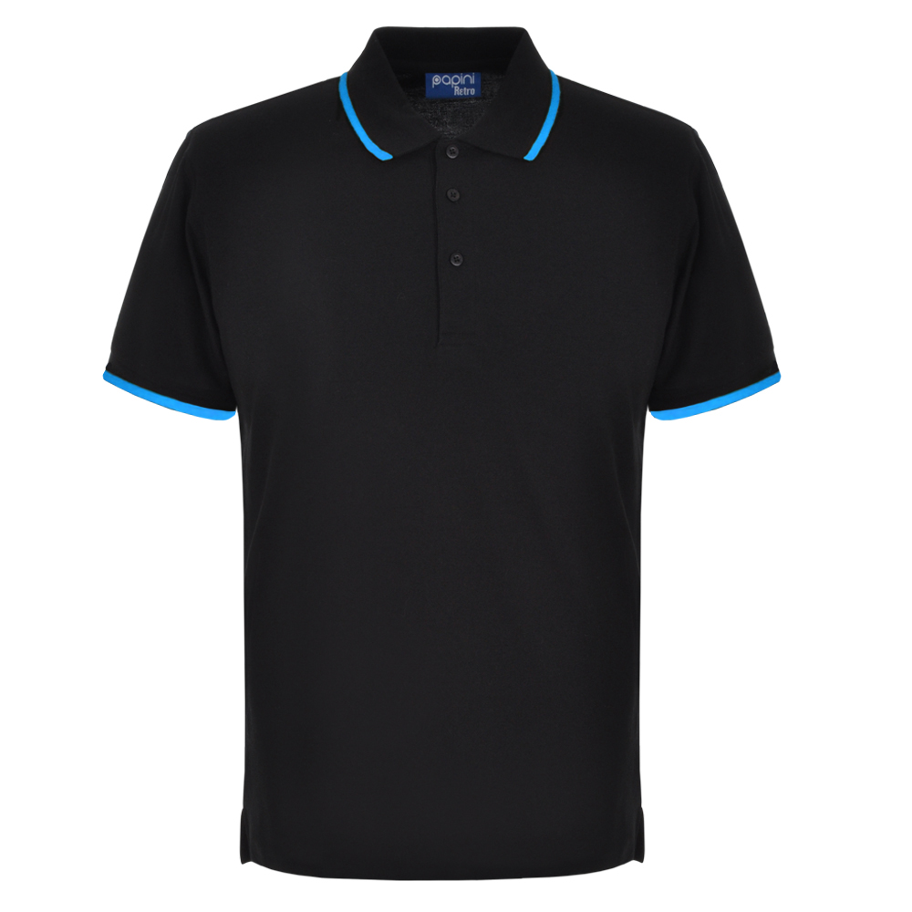 Black and Cyan Embroidered Retro Polo Shirts from Jageto Embroidery and print in Braintree Essex in the UK