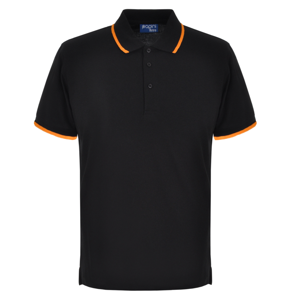 Black and Orange Embroidered Retro Polo Shirts from Jageto Embroidery and print in Braintree Essex in the UK