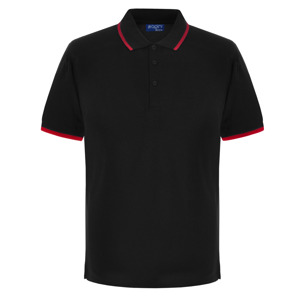 Black and Red Embroidered Retro Polo Shirts from Jageto Embroidery and print in Braintree Essex in the UK