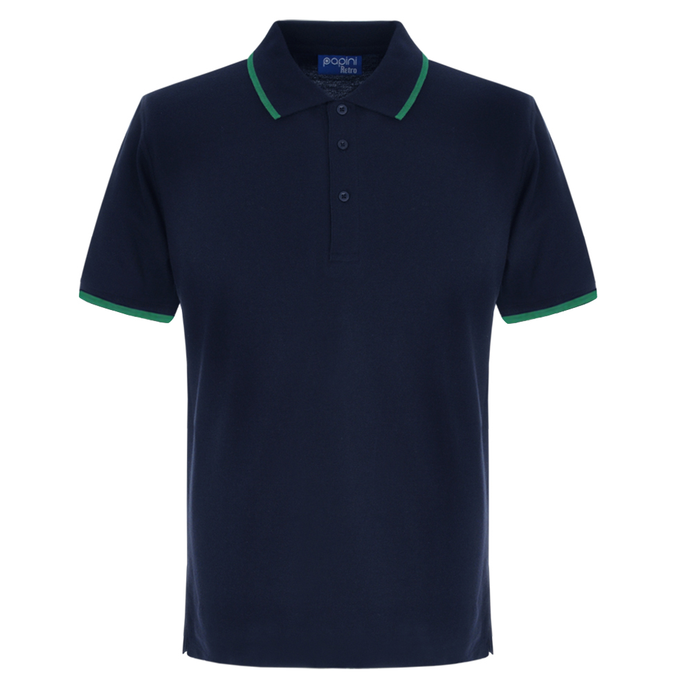 Navy Blue and Emerald Green Embroidered Retro Polo Shirts from Jageto Embroidery and print in Braintree Essex in the UK
