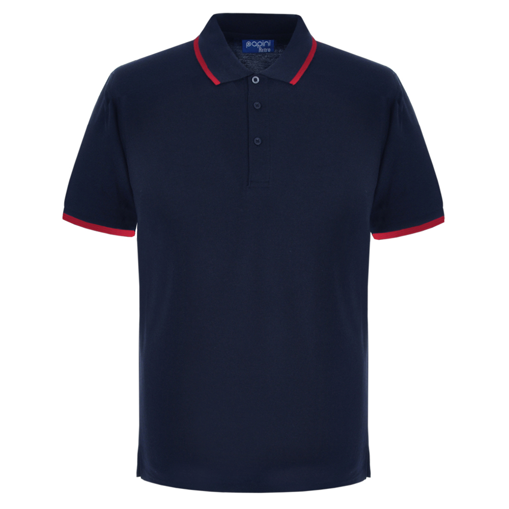Navy Blue and Red Embroidered Retro Polo Shirts from Jageto Embroidery and print in Braintree Essex in the UK