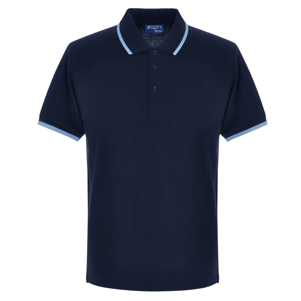 Navy Blue and Sky Blue Embroidered Retro Polo Shirts from Jageto Embroidery and print in Braintree Essex in the UK